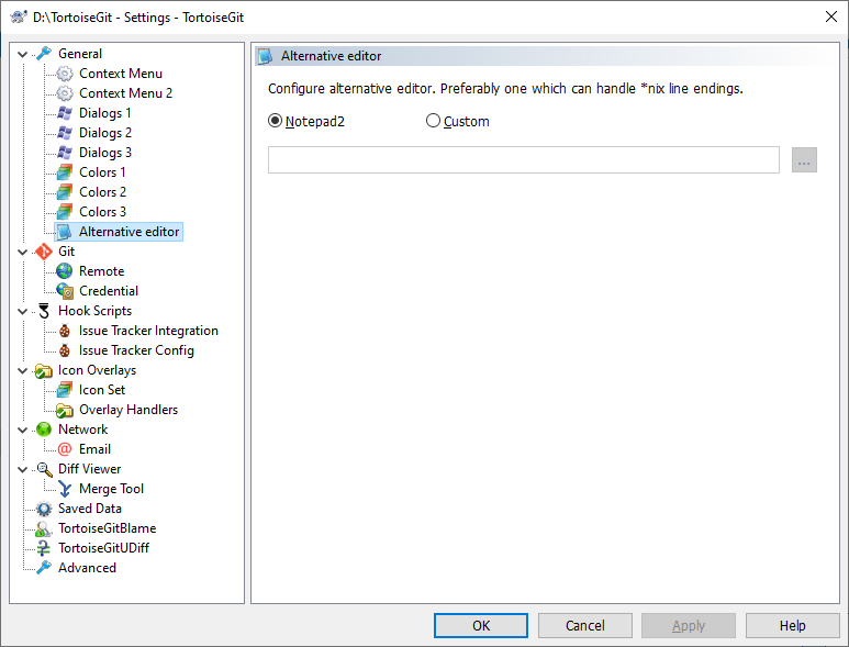 The Settings Dialog, Alternative editor Page