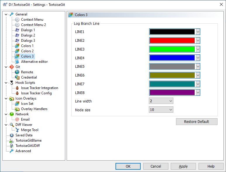 The Settings Dialog, Colours Page