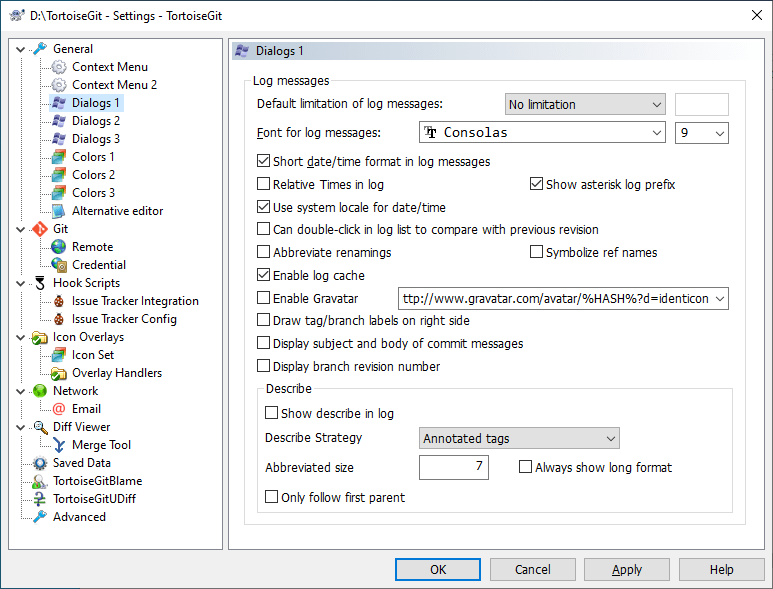 The Settings Dialog, Dialogs Page