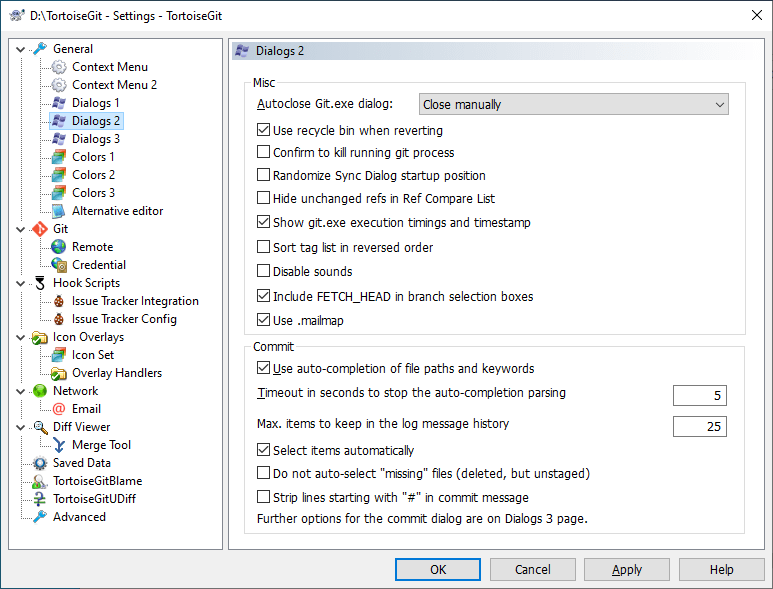 The Settings Dialog, Dialogs Page 2