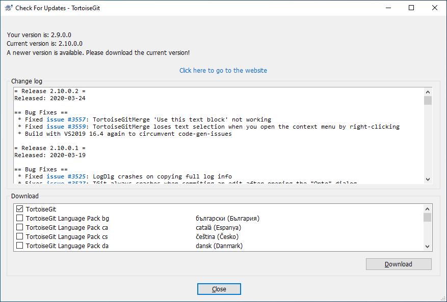 Updating git on windows